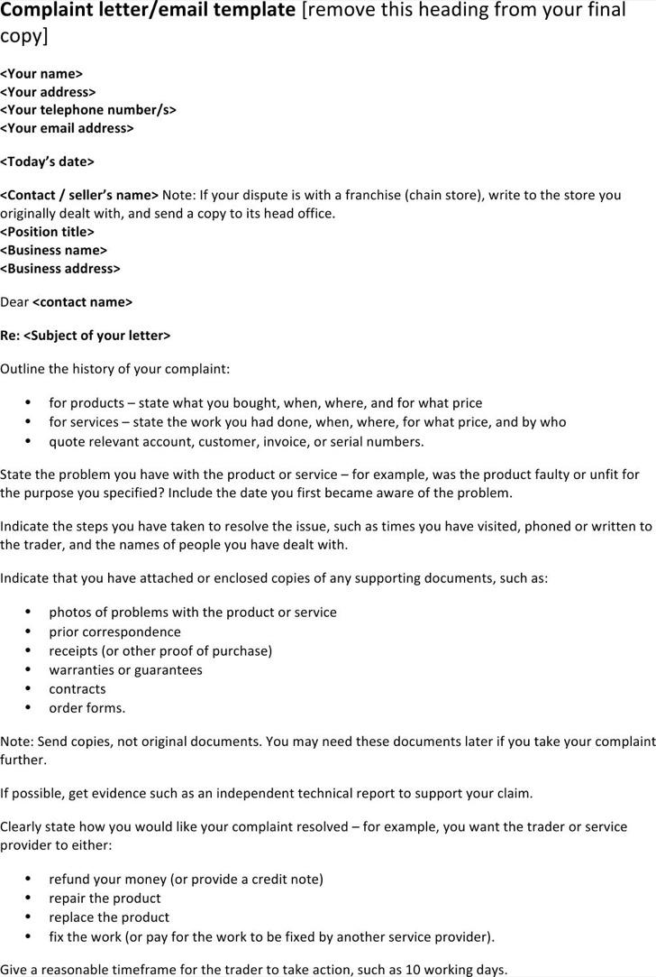 Formal Complaint Letter