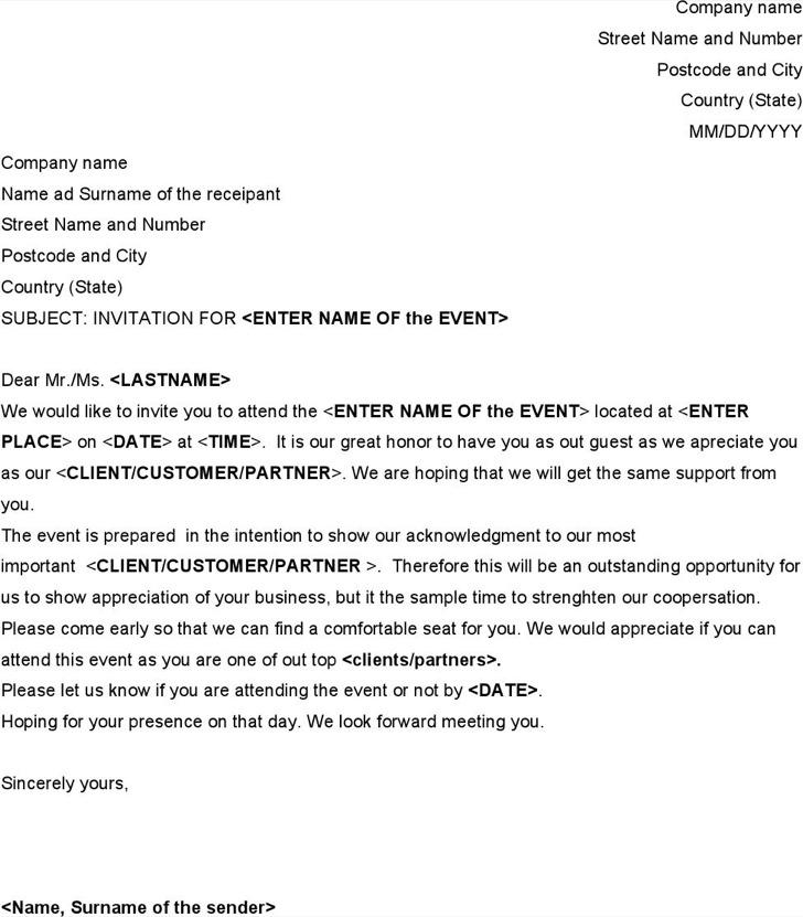Formal Event Invitation Letter Template