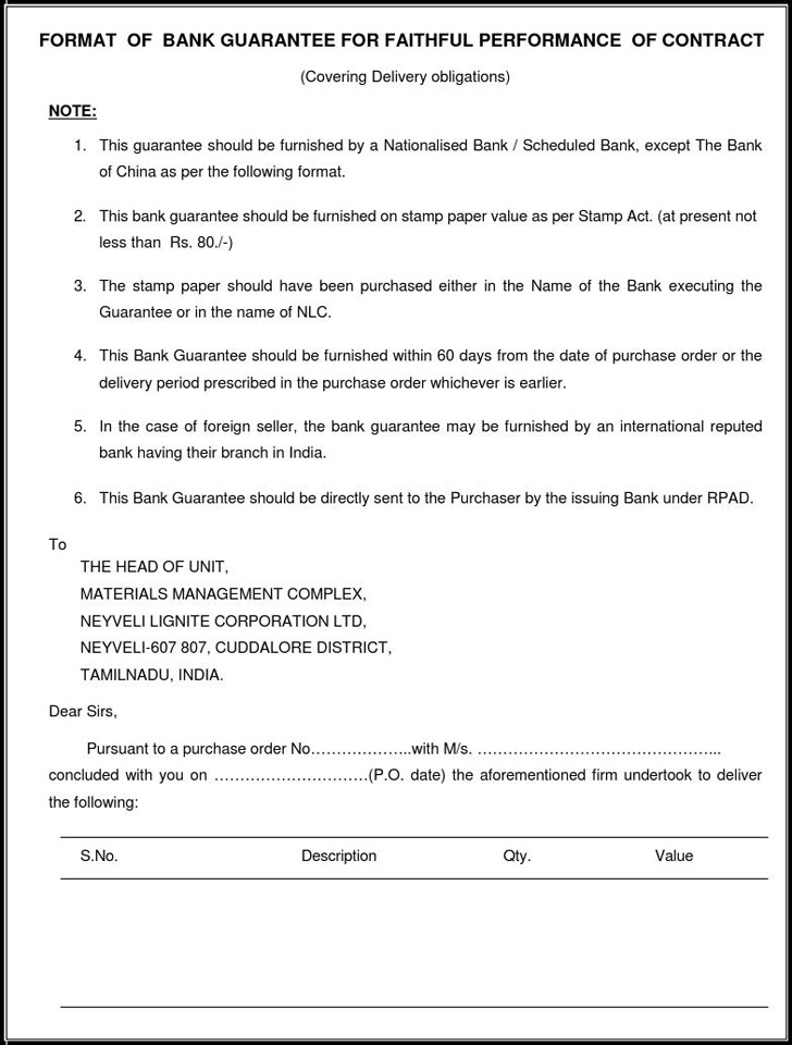 Format of Bank Guarantee for Faithful Performance of Contract