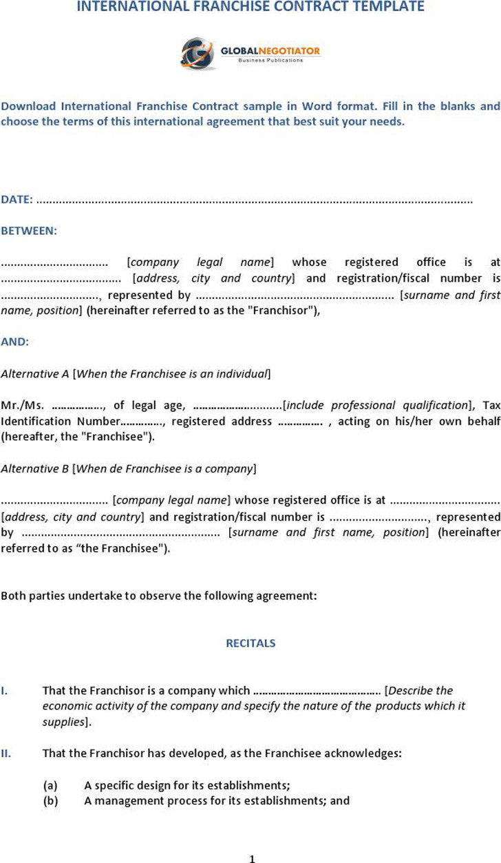 Franchise Agreement Sample 3