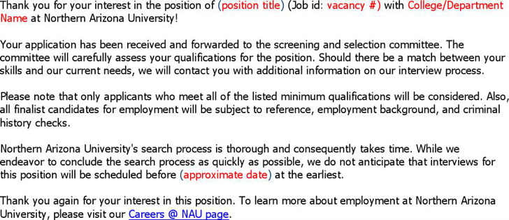 Free Application Received Acknowledgement Time Frame Letter