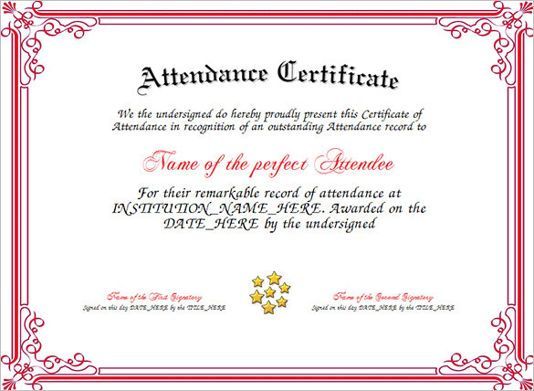 perfect attendance certificate free download