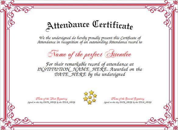 Free Attendance Certificate Designer  Free Perfect Attendance Certificate Template