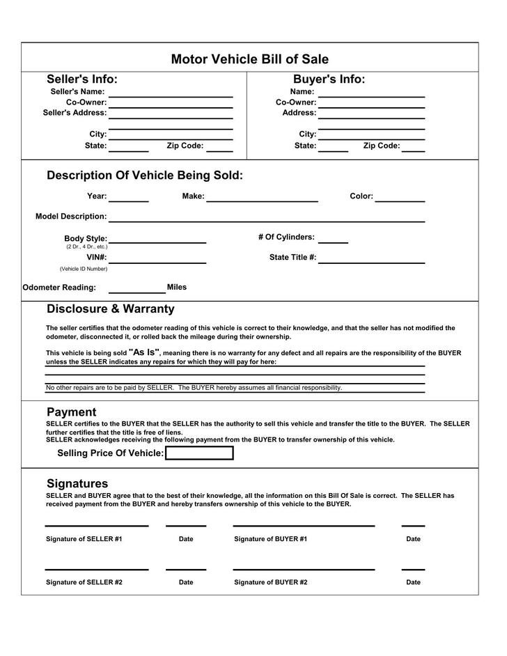 Bill Of Sale Templates  Download Free  Premium Templates Forms
