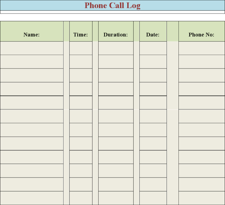 Excel Phone Log Template  SaveBtsaCo