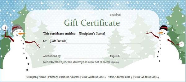 Christmas Gift Certificate Templates Download Free Premium