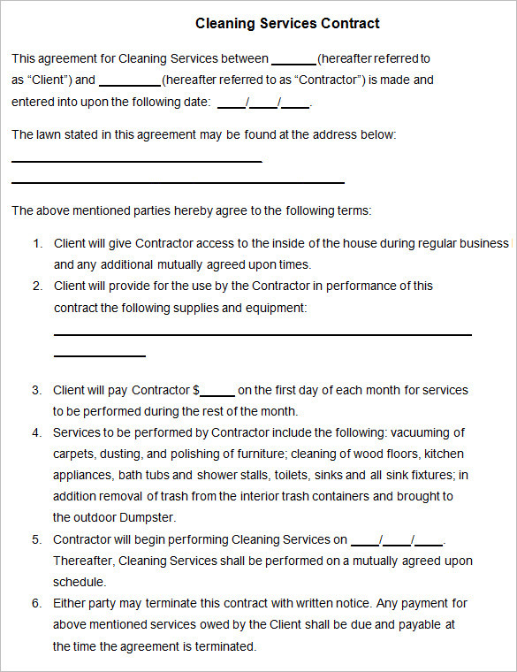 Cleaning Contract Template | Download Free & Premium Templates