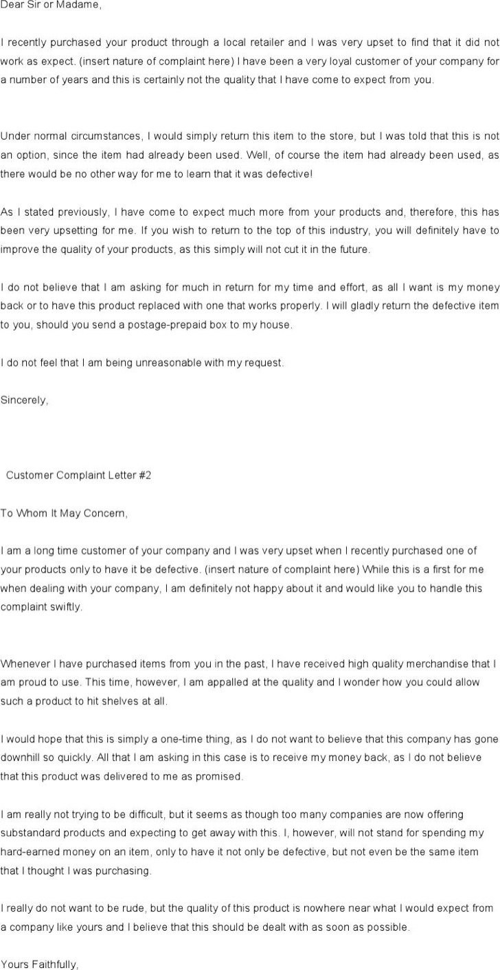 Free Complaint Letter Template