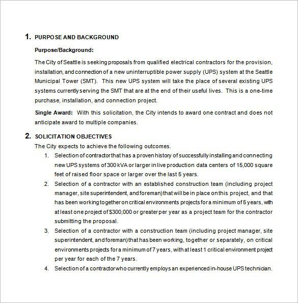 Free Construction Bid Proposal Word Download