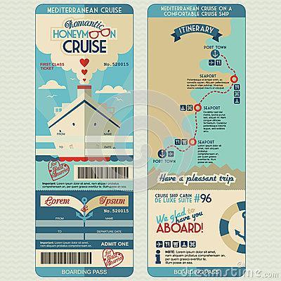 Free Cruise Ship Boarding Pass Design Template