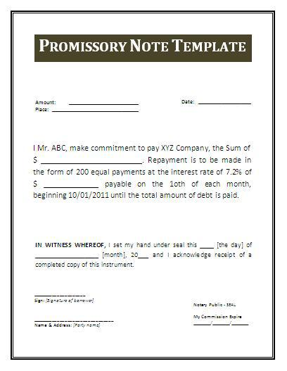 Promissory Note Templates Download Free Amp Premium