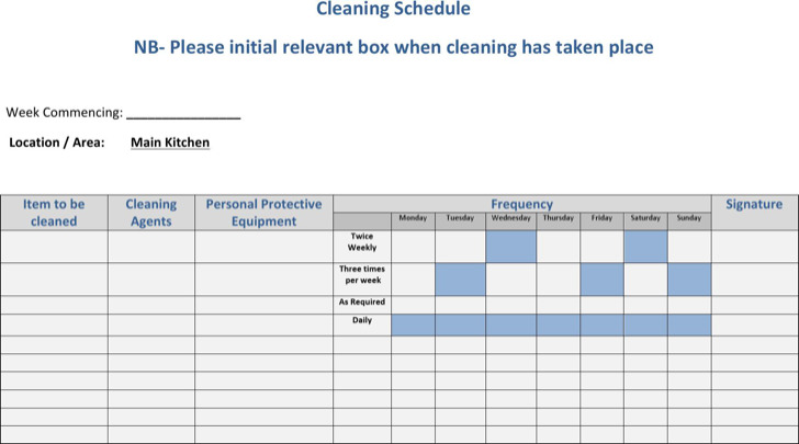 Commercial Kitchen Cleaning Schedule Word Doc