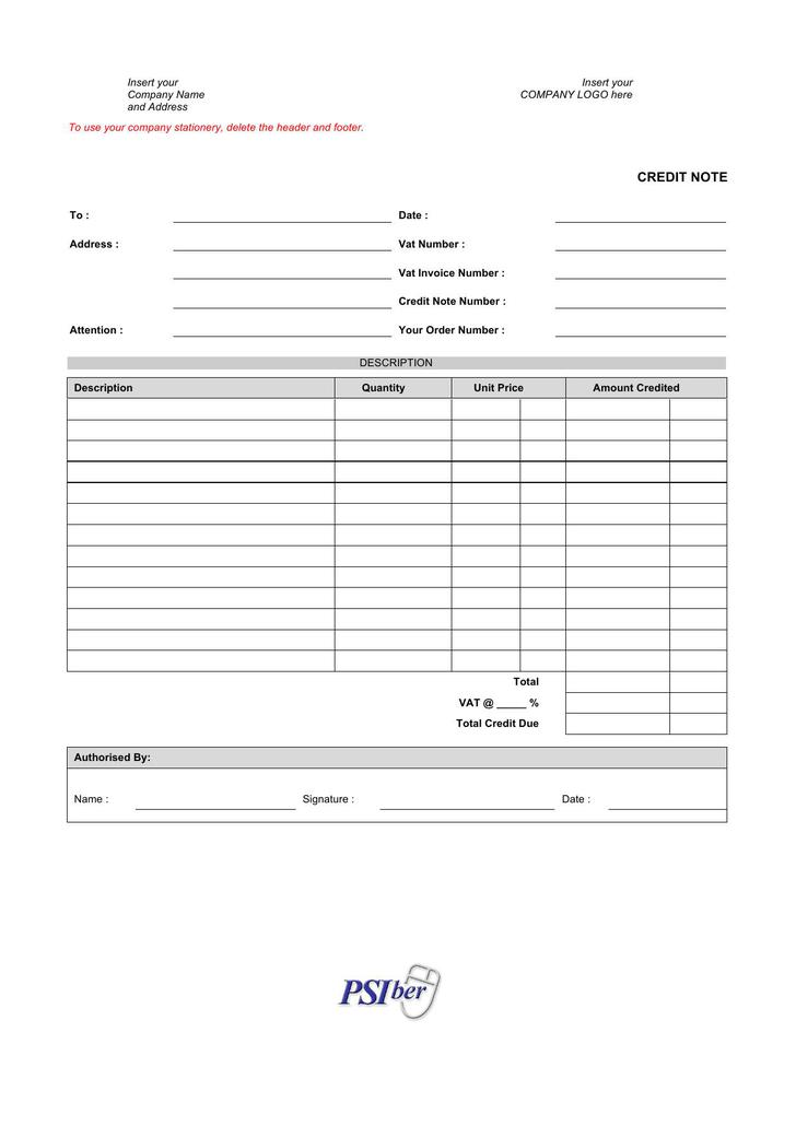 Credit Note Doc Format Template