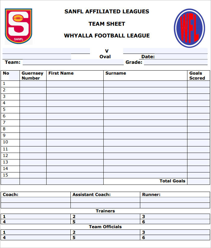 Foot Ball Team Sheet Template Pdf