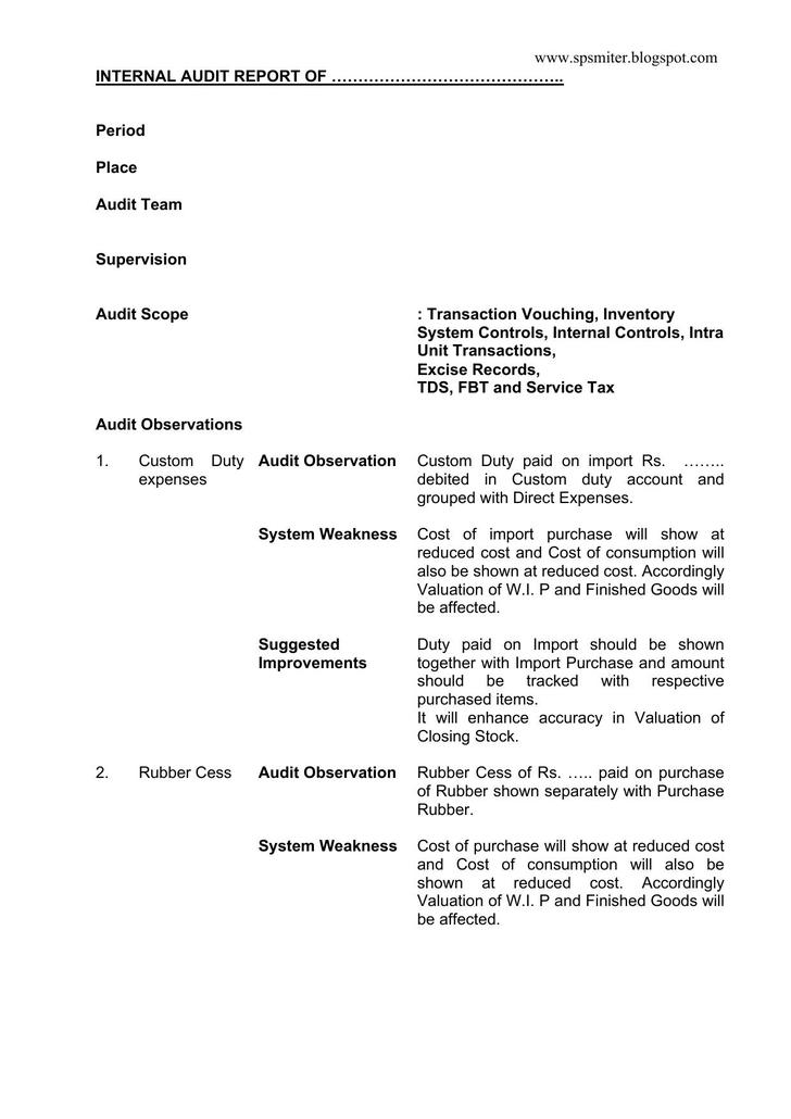 Internal Audit Report Template  Download Free  Premium Templates