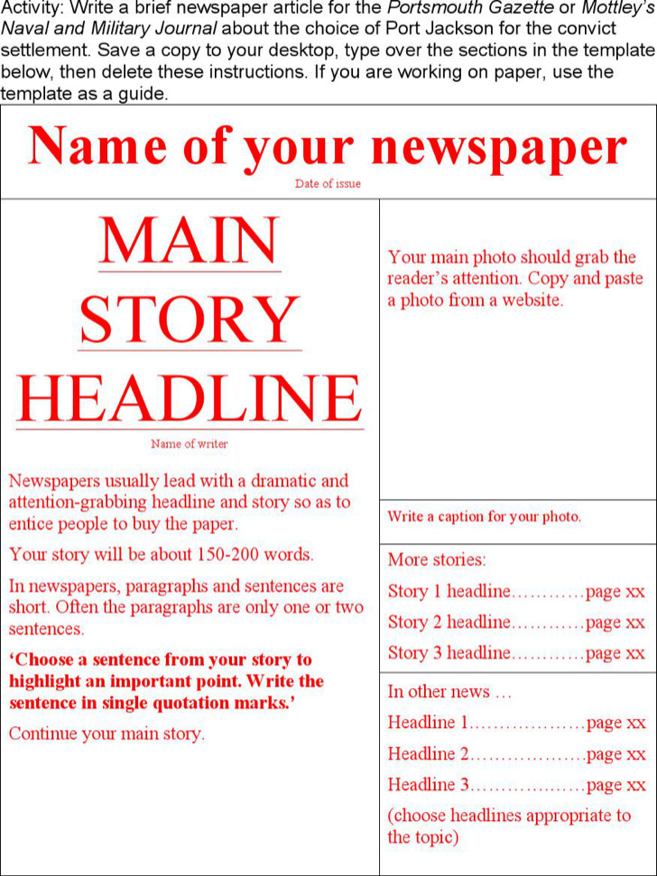 NewsPaper Templates – Newspaper Headline Template
