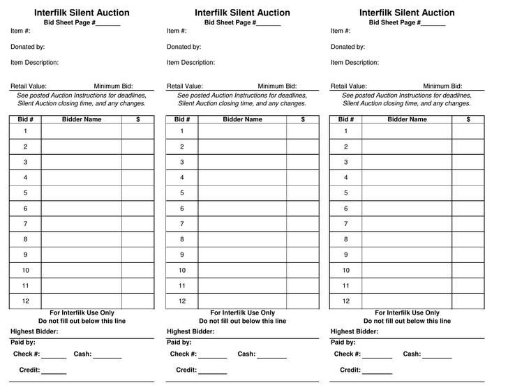 PDF Format Silent Auction Bid Sheet Template