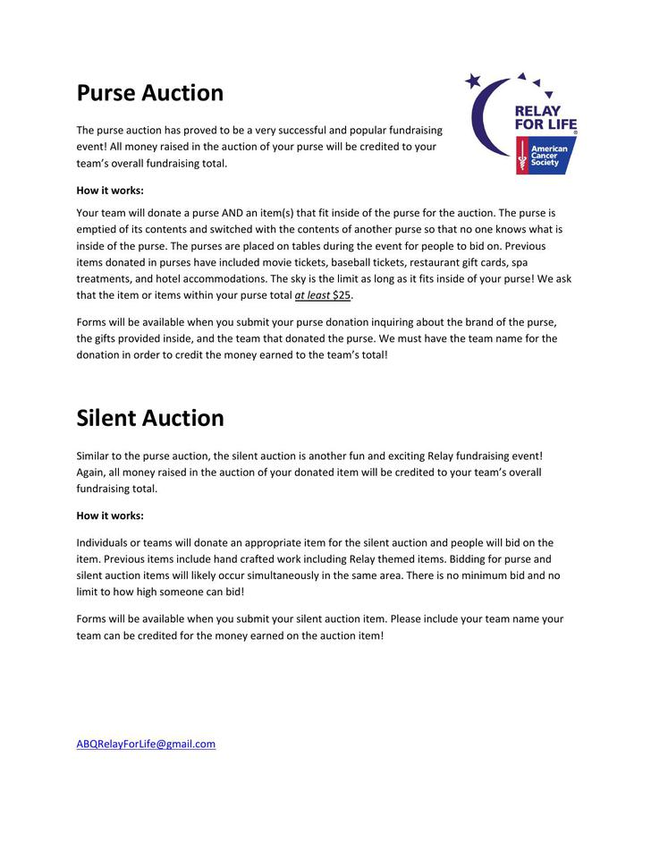 Silent Auction PDF Template