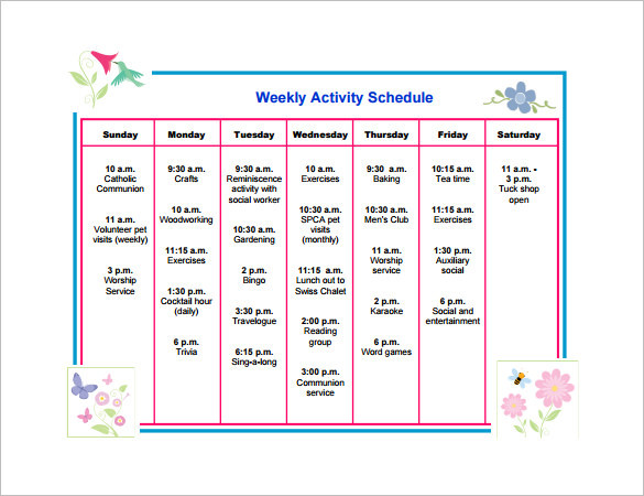 Weekly Activity Schedule Template PDF