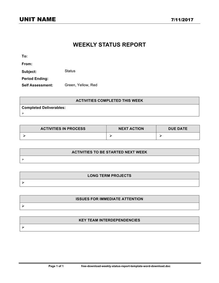 Status Report In Word  Monthly Status Report Template Word