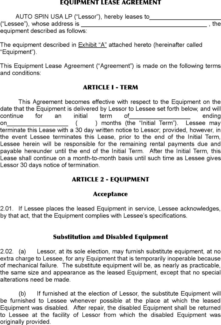 Sample Equipment Lease Templates | Download Free & Premium