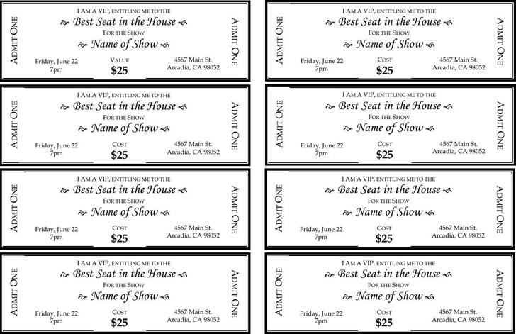 Ticket Templates – Printable Tickets Template Free