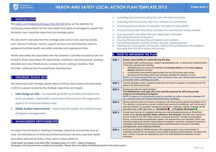 Free Health Safety Local Action Plan Word Template 2015