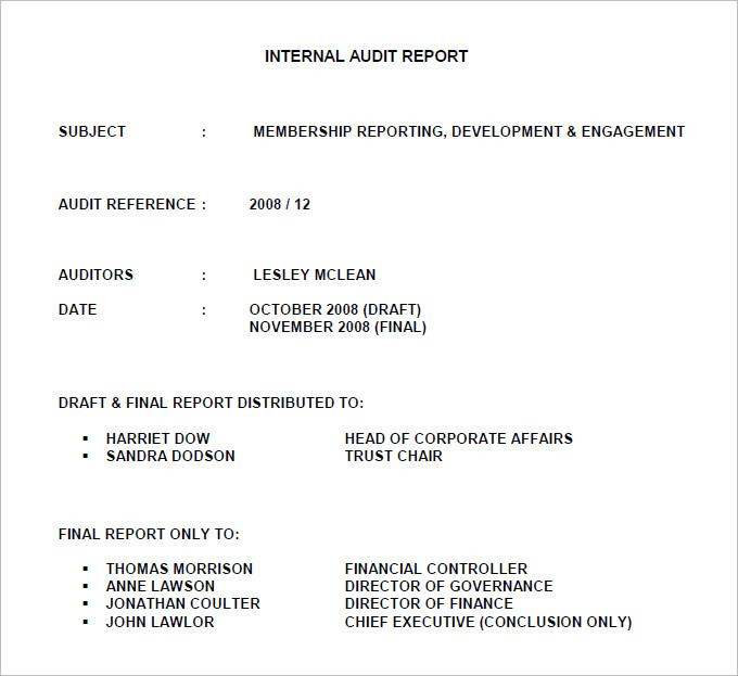 Free Internal Audit Report Template Pdf Download