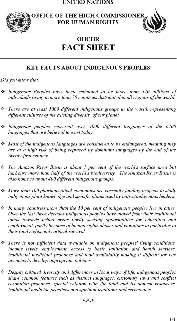 Free Key Fact Sheet Template About Indigenous People