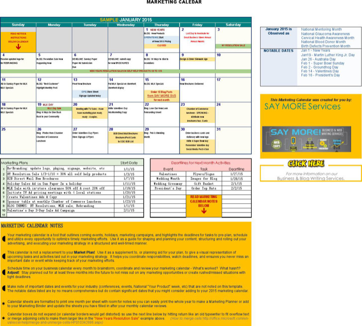 Free Marketing Calendar 2015 Template