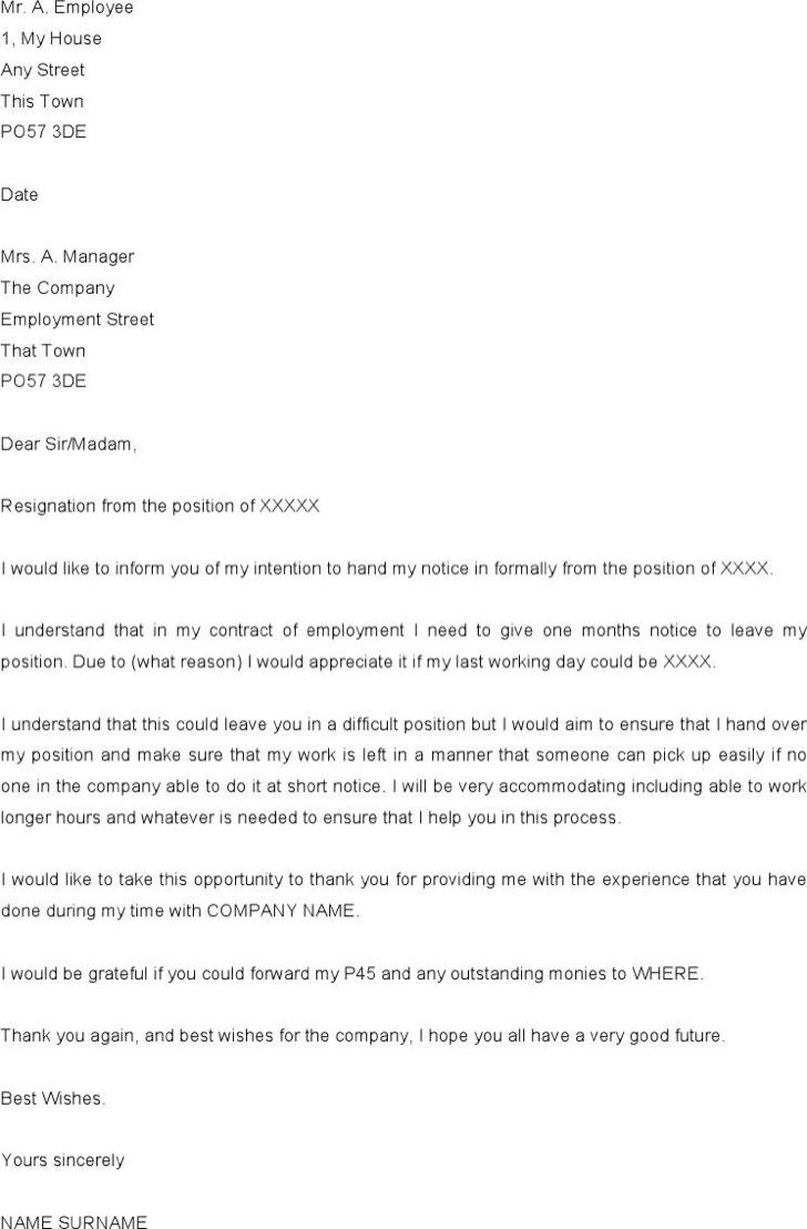 notice period letter templates premium templates notice period resignation letter example