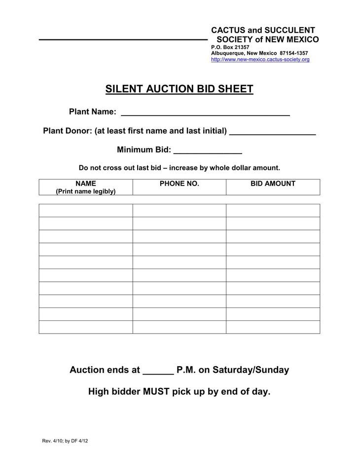 Silent auction bid sheet template download free for Silent auction program template