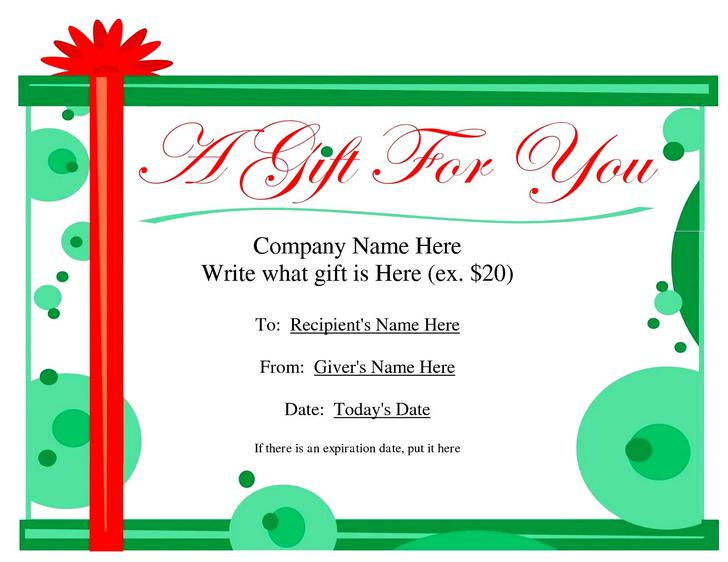 Gift Certificate Template – Gift Certificate Word Template Free