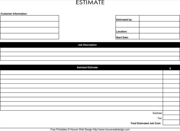 Work Estimate Template Free Printable Job Estimate Form Template In