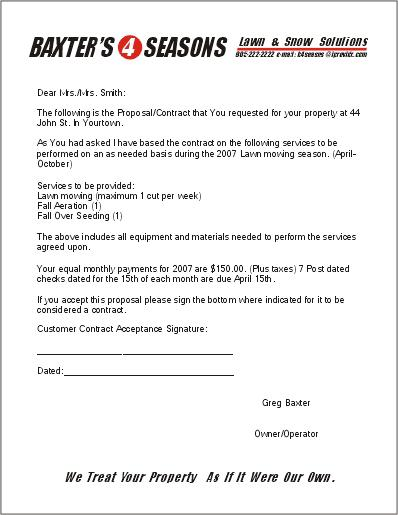 Free Printable Lawn Care Contract Template Download