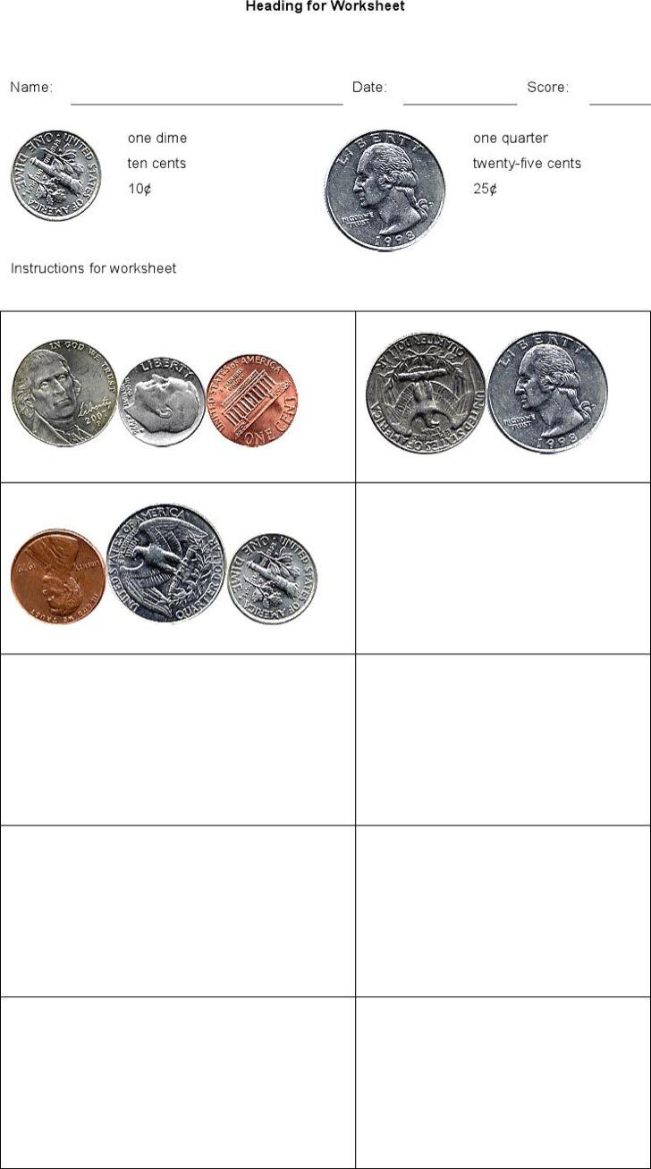 Free Printable Money Math Worksheets