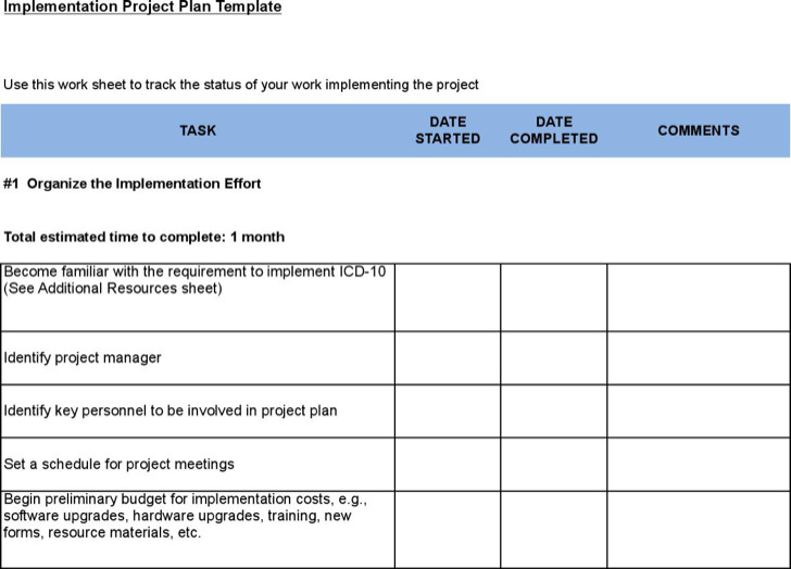 Sample Project Implementation Plan Templates  Download Free