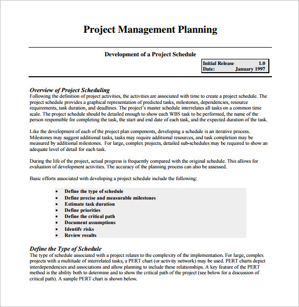 project management schedule template download free premium