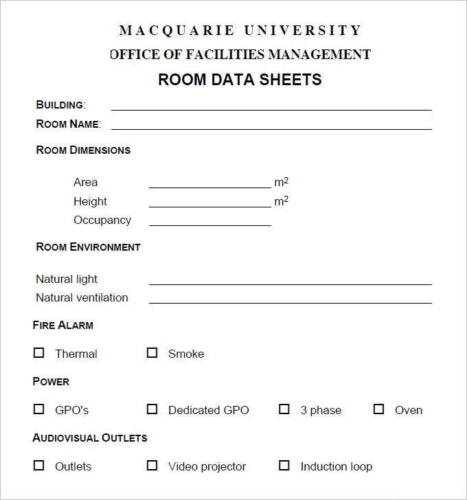 Free Room Data Sheet Pdf Download