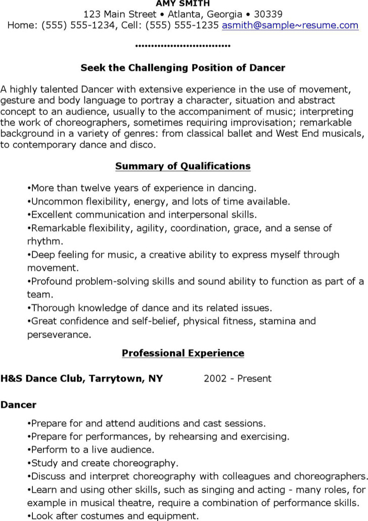 sample dance resume dancer samples ballet instructor good templates