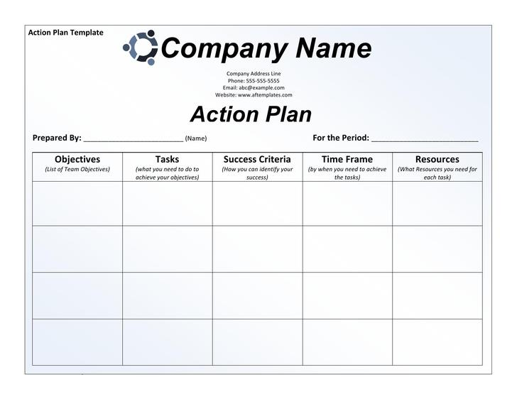 Task Action Plan Template  Free Sample Action Log Templates