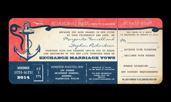 Free Wedding Boarding Pass Vintage