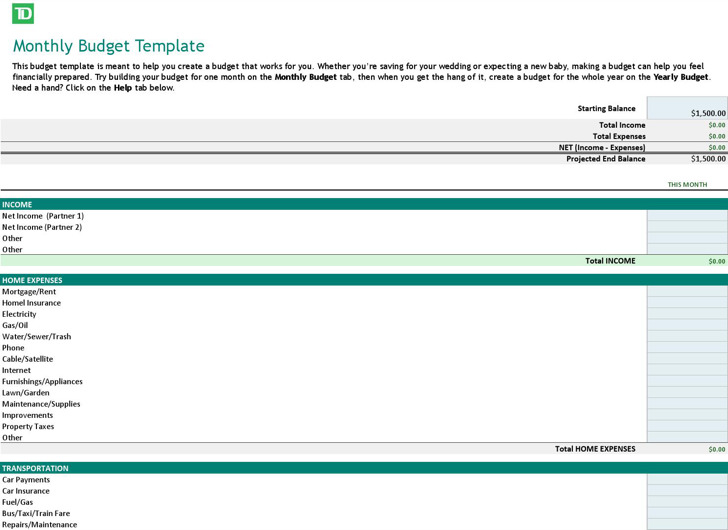 free budget template download