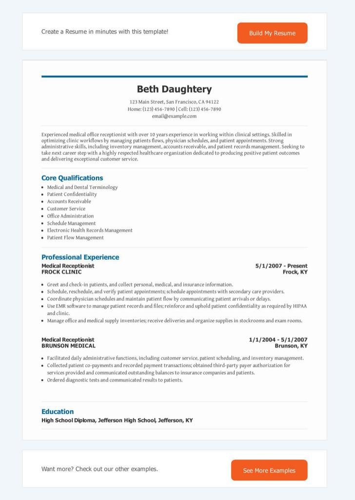 Front Desk Medical Receptionist Resume