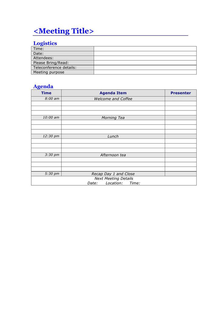 Full Day Meeting Agenda Template