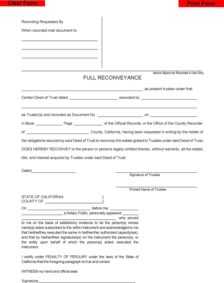 Deed Of Reconveyance Form | Download Free & Premium Templates