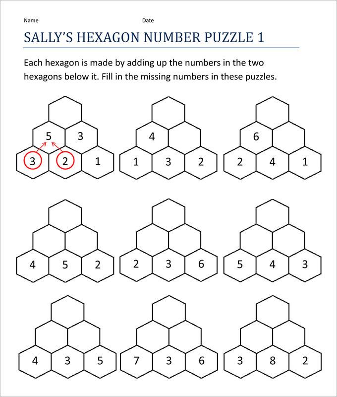 Fun Hexagon Math Worksheet Template