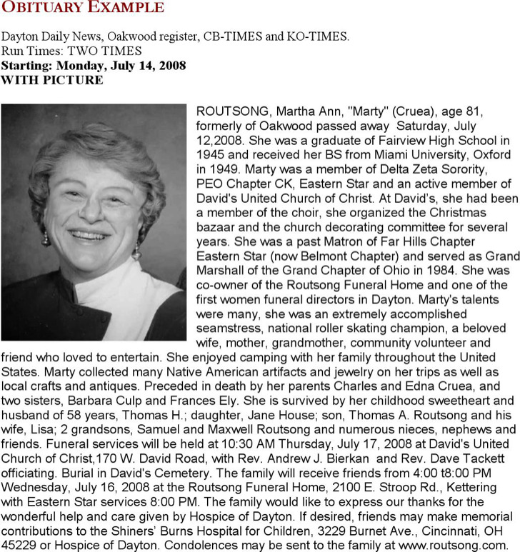 Funeral Obituary Example