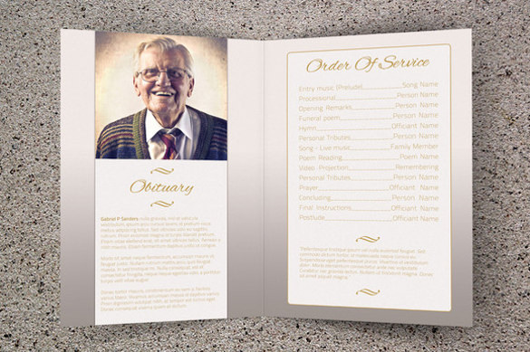 Funeral Program Template Bi-Fold Brochure Download