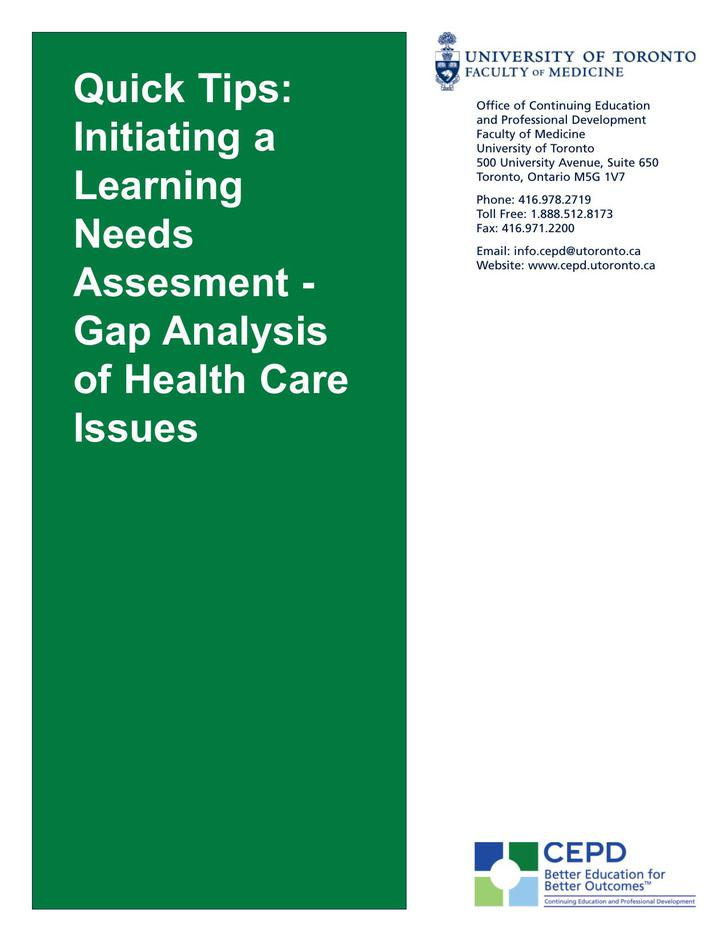 Gap Analysis of Health Care Issues PDF